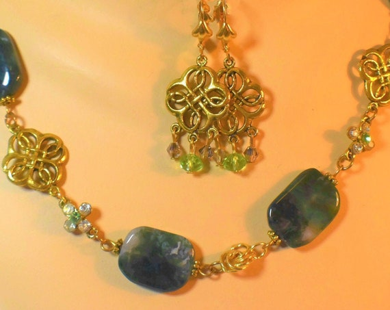Moss agate gemstone necklace and earrings, Moss agate beads mixed with gold openwork metal spacers, and clear and green rhinestone spacers