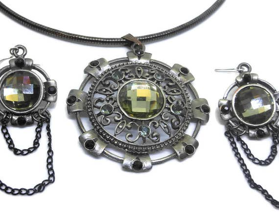Necklace earring set, round scrolled pendant, grey green, antiqued silver tone, gunmetal omega chain, silver plated