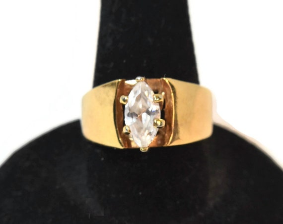 Cubic Zirconia solitaire ring, gold plated RINC signed, prong set marquise cut ring size 8