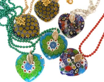Millefiori glass heart pendant, choose your color and chain, red green gold ball chain, silver chain, gold plated chain,, handmade