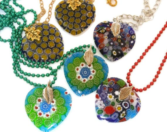 Millefiori glass heart pendant, choose your color and chain, red green gold ball chain, silver chain, gold plated chain,