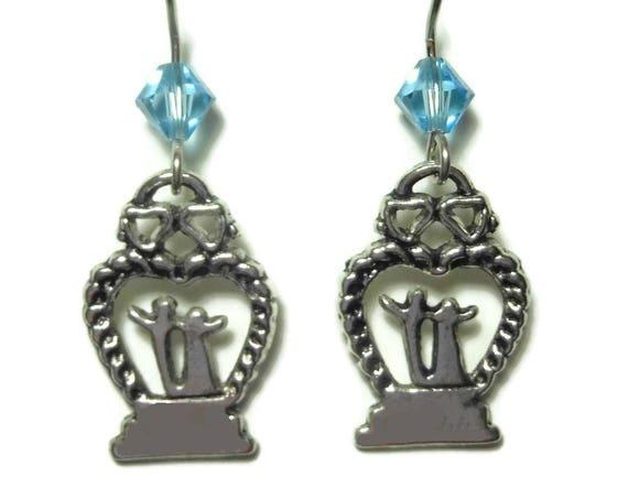 Wedding cake topper earrings, handmade wedding, topped with blue Swarovski crystal, french hook, wedding couple bride brides