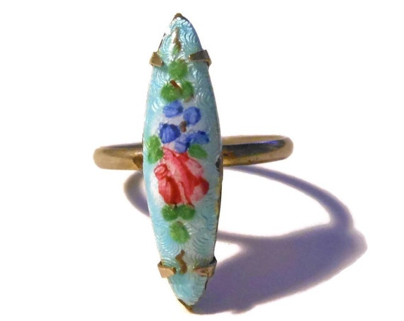 Guilloché navette floral ring, red rose on blue background, adjustable ring, sz 5 to 8