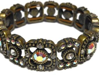 Kirks Folly bracelet, crystal aurora borealis stretch bracelet, bronze panels