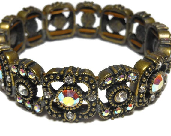 Kirks Folly bracelet, crystal aurora borealis stretch bracelet, bronze panels