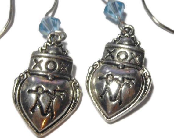 Heart couple XO earrings, handmade wedding anniversary Valentine's Day, Swarovski blue crystal french hook pierced silver tone
