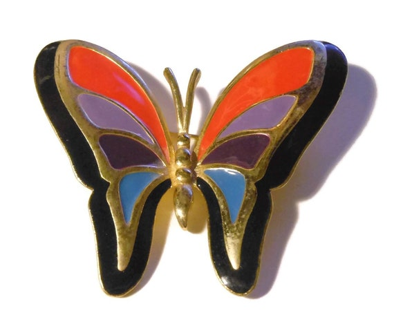 Multi color enamel butterfly brooch, color block enamel butterfly pin, red purple mauve blue with black edging