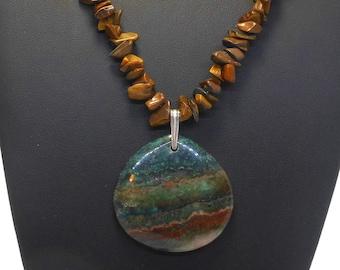 Green jasper pendant, tiger's eye chip stand, banded jasper pendant, sterling silver findings, semi precious gemstone necklace
