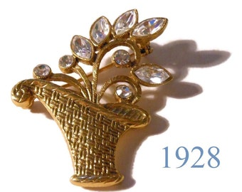 1928 flower basket brooch, clear rhinestone navette and round settings, gold hatched basket and stems, floral pin, great detail basket pin