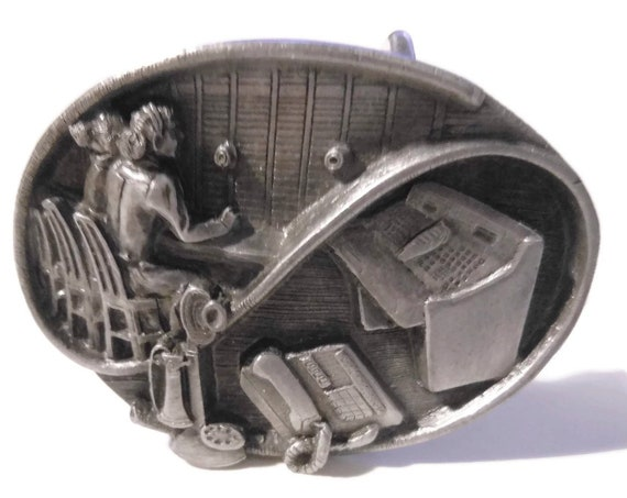 Women communication workers buckle, 1989 X-15, tribute belt buckle, tribute to women workers, pewter Siskiyou Buckle Company, vintage