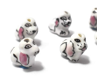 Porcelain dog beads, 7 piece lot, black and white with pink ears, ceramic small beads, Kawaii cat beads, dog puppy pup, adorable!