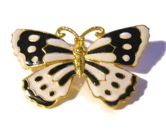Cloisonne butterfly brooch, black and white enamel butterfly pin with gold metal