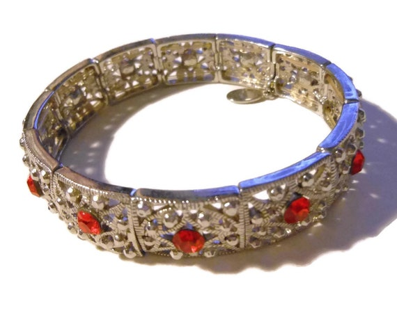 Cookie Lee link bracelet, red rhinestone and faux marcasite silver links, stretch bracelet