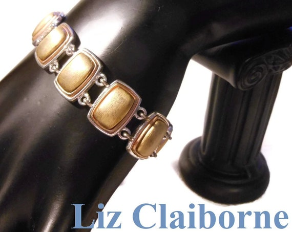 Liz Claiborne link bracelet, gold insets lined with copper on silver links, brushed gold, two toned