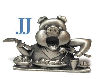 J.J. pewter pig brooch, delightful spaghetti dinner eating pin JJ signed