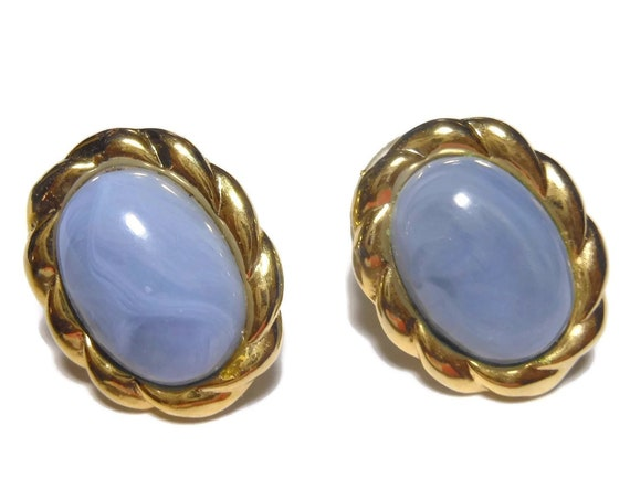 Blue oval earrings, translucent lucite, gold rope border, pierced stud earrings, denim blue earrings