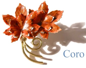 1940'S Coro autumn leaves brooch, enamel orange and brown leaves, gold stems, open cut work