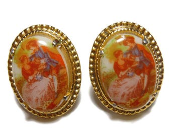 Fragonard Transferware cameo earrings, 1950's transfer couple, Victorian style, clip-on earrings, gold tone
