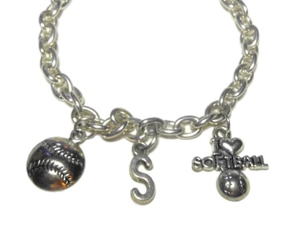 Softball charm bracelet, silver link bracelet, I heart softball charm, softball charm, S initial charm, baseball sports