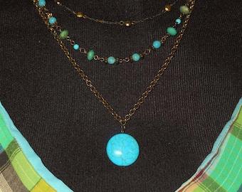 Turquoise 3 strand necklace, dyed howlite magnesite, bronze chains, Boho tribal southwestern, statement light