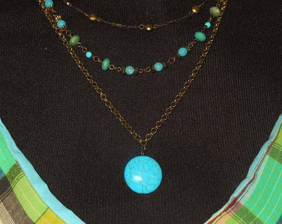 Turquoise 3 strand necklace, dyed howlite magnesite, bronze chains, Boho tribal southwestern, statement light