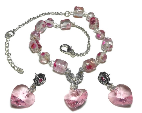 Pink heart necklace and earrings, Swarovski crystal hearts, lampwork beads, silver plated chain, vintage leaf connector, pierced earrings