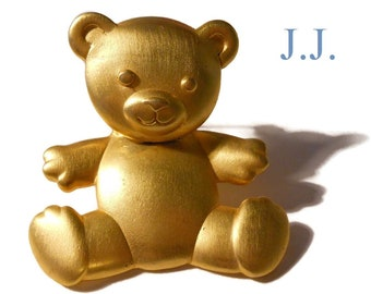 JJ bear brooch, teddy bear pin with articulated head, signed JJ for Jonette Jewelry Co., moveable body, matte gold tone
