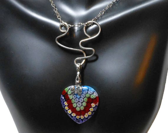 Millefiori glass pendant, red heart, butterfly bail, Avant garde style sterling silver, hammered infinity clasp, handmade