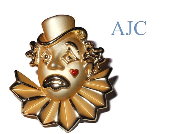 AJC clown brooch, signed designer pin, matte and shiny finish Red enamel heart tear, sad clown, ruffled collar, top hat