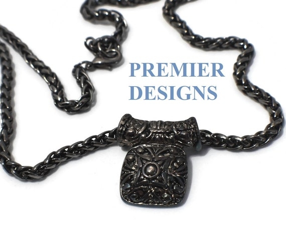 Premier Designs Necklace, gunmetal chain with Aztec design slide pendant, Singapore chain