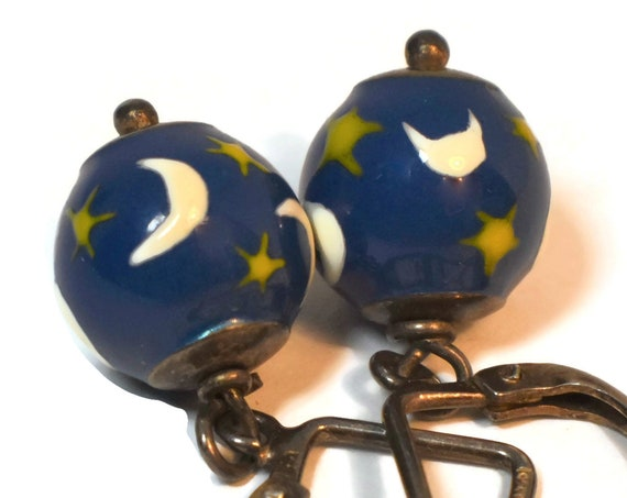 925 Night sky earrings, Sterling silver metal, twilight enamel blue globe with white half-moons and yellow stars, marked 925 Italy M