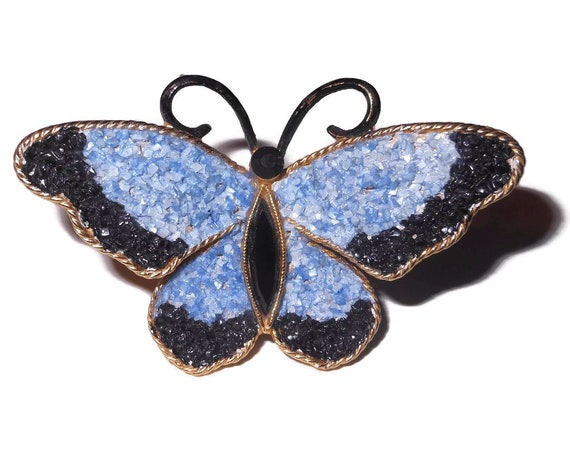 Mosaic butterfly, blue and black crushed stone inlaid wings, black body and head, enamel feelers, gold edging, stunning workmanship!