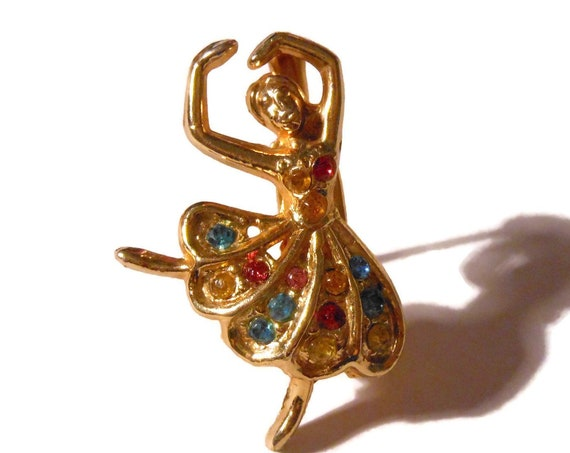 Ballerina brooch pin, multi colored rhinestone dancer, gold tone, small pin, scatter pin
