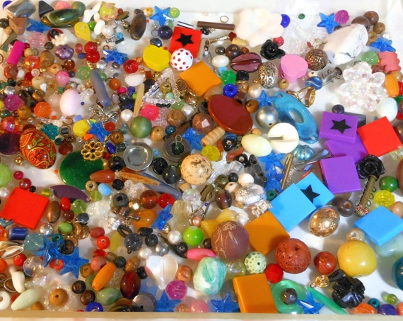 Mixed lot plastic and wood beads, metal findings, cabochons, mostly drilled,  jewelry making destash, beading 10 ounce