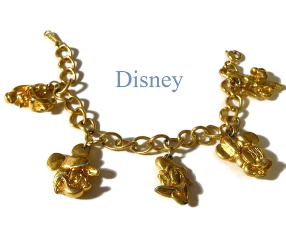 Disney charm bracelet, classic characters, Mickey, Donald, Minnie, Pluto and Goofy, Fab Five,  designer signed vintage