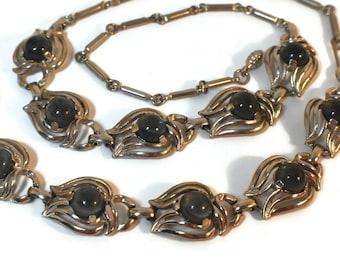 Smoky Grey Blue Moonstone  Art Nouveau Necklace Bracelet set in silvertone setting, 1950s undoubtedly designer made