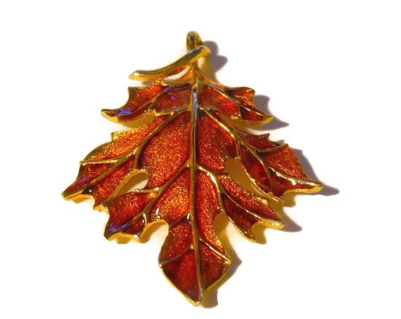 Oak leaf pendant, bronze glitter enamel with gold veins, stunning fall colors