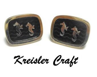 Kreisler Craft Seahorse cuff links, gold with black wave background, mid century great for a destination wedding vintage