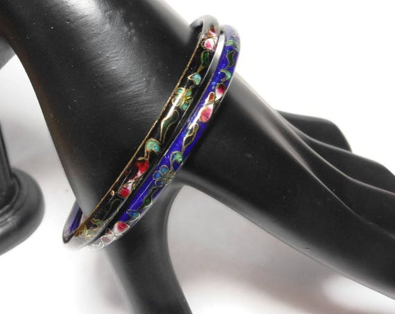 Cloisonne bangle bracelets, set of two, black and blue bangles, floral pattern, silver edging, enamel finish, Chinese export