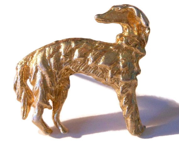 Borzoi Russian Wolfhound brooch, small gold dog pin, great details, aristocratic breed sighthound, also good tie clip or lapel pin