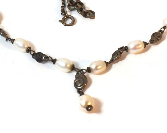 Cultured pearls necklace and 925 sterling silver rolo chain and swirl spacers marked 925 Italy on clasp