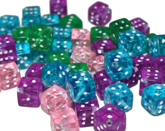 Dice bead mix, acrylic, transparent and opaque mixed colors, 7.5mm dice. Sold per pkg of 50.