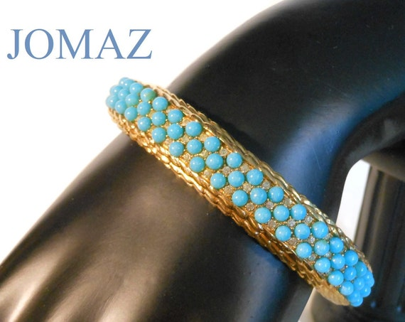 Jomaz turquoise beaded bracelet, faux turquoise beaded bangle, interspersed with clear rhinestones, with gold rope edging.