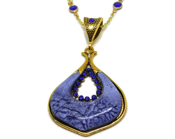 Blue glass teardrop pendant, blue rhinestone & crystal accents, gold chain large bail perfect for switching up looks, extender