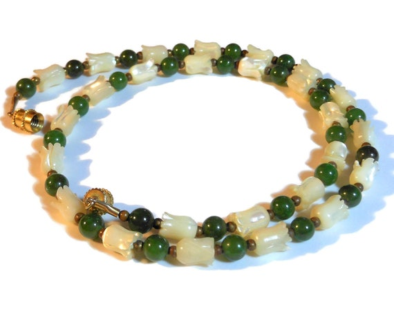 Jade choker necklace, white mother of pearl (MOP) tulips, jade ball beads, gold spacer beads