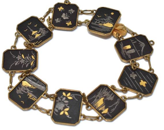 Japanese damascene bracelet, Shakudo panel, images hand-painted with gold and silver leaf, Japanese garden, pagoda, bridge scenes, two-sided