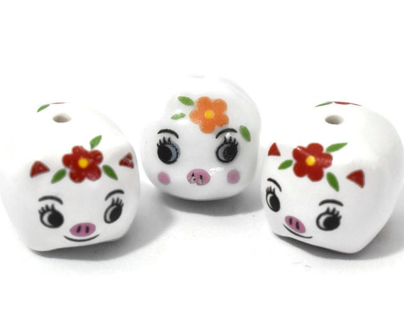 Porcelain pig beads, 3 piece lot, white piggy figurines, ceramic Kawaii, two matching, one smaller with an orange flower and different shape