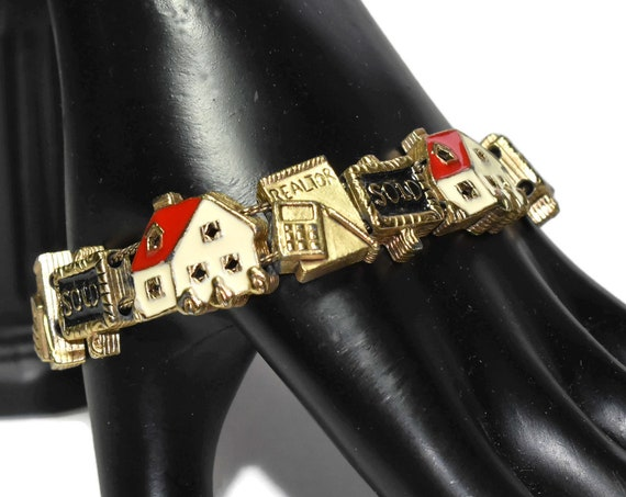 Real estate charm bracelet, 'sold' 'realtor', and 'house' slider charms, colorful enamel charms on a gold plated slide bracelet