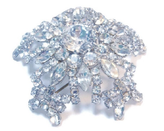 Austrian crystal brooch, large clear crystal domed faceted Austrian rhinestone crystals pin