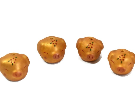 Porcelain pig beads, 4 piece lot, gold piggy figurine beads, ceramic small Kawaii beads, animal beads, with flower on head, tail in rear